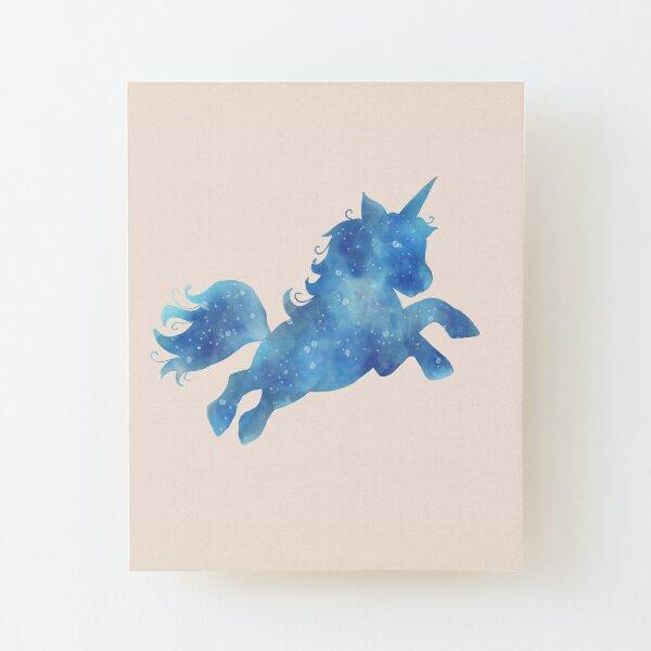 Magical watercolour unicorn Wood Mounted Print
