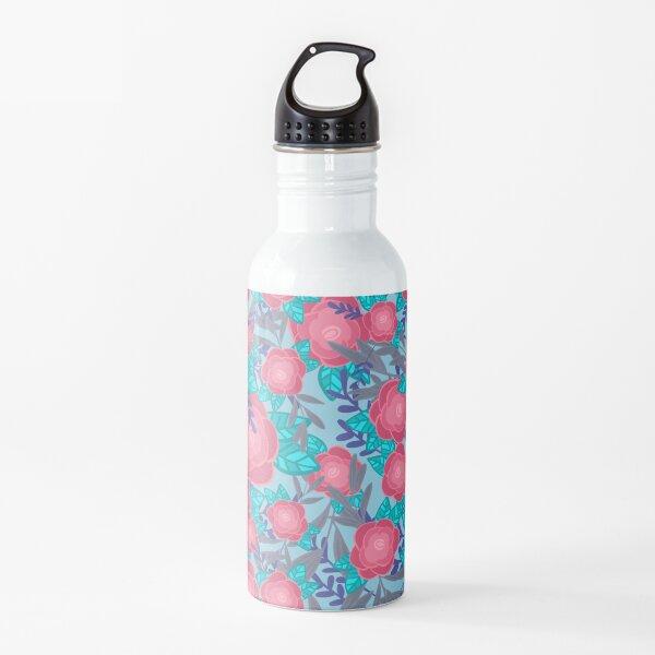 Rose florals on blue Water Bottle