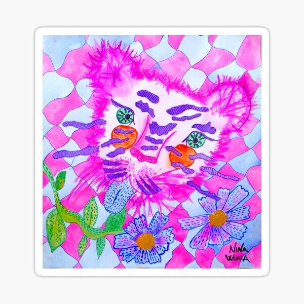 Ilustración tigre rosa sacando la lengua Pegatina