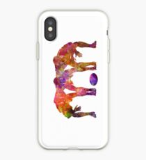 Rugby men players 05 in watercolor iPhone Case