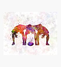 Rugby men players 05 in watercolor Photographic Print