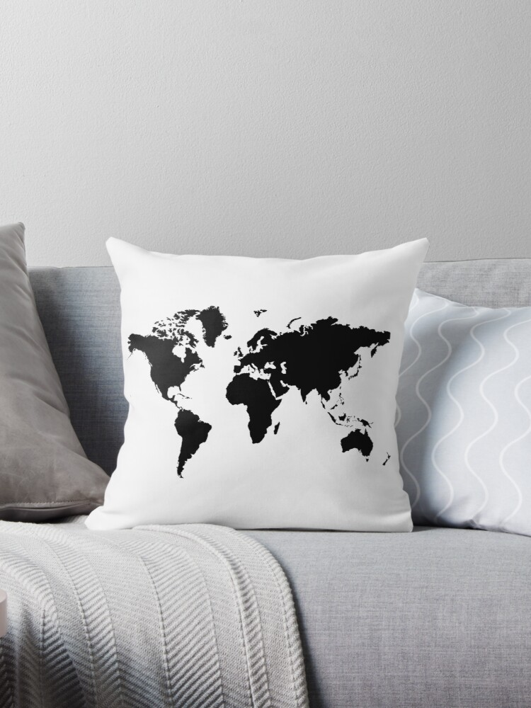 Cojines black and white world map de haroulita redbubble black and white world map de haroulita gumiabroncs Images