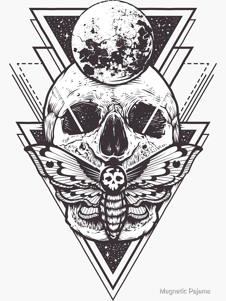 Skull with Pyramids Sacred Geometry // Spiritual Occult Psychedelic by MagneticMama