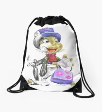 Charcoal and Oil - Jiminy Cricket Drawstring Bag