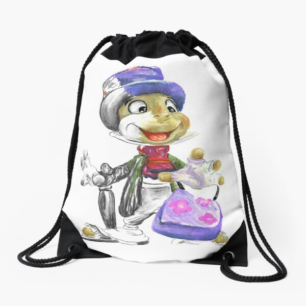 Charcoal and Oil - Jiminy Cricket Drawstring Bag
