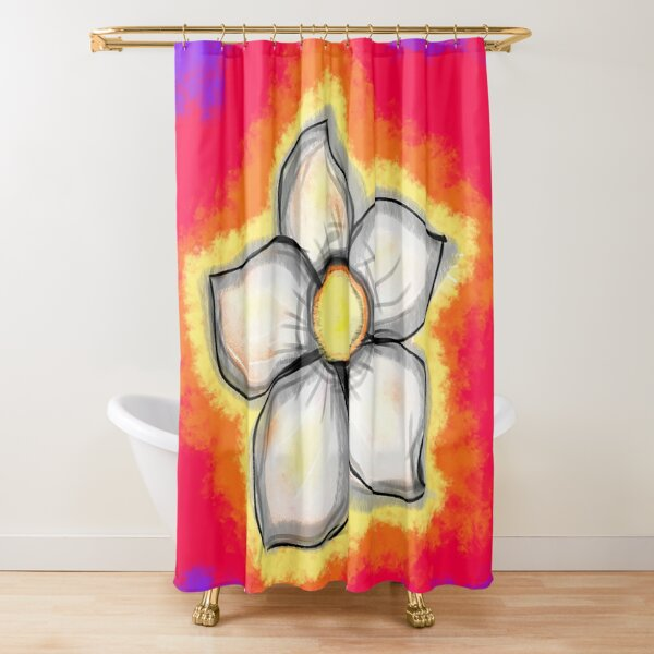 Psychedelic Daisy Flower Shower Curtain