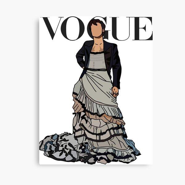 Camiseta clásica Cubierta de la etiqueta engomada del vestido del cartel de Vogue Harry Styles Lienzo
