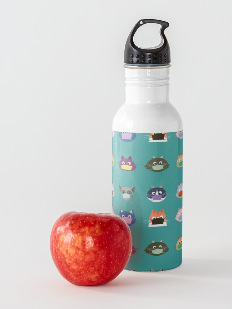 Alternate view of Cats wearing masks Water Bottle