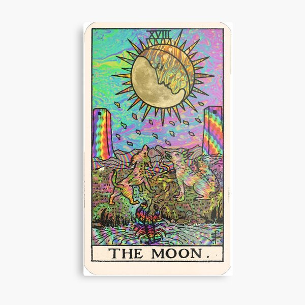 Tarot psychadélique - La lune Impression métallique