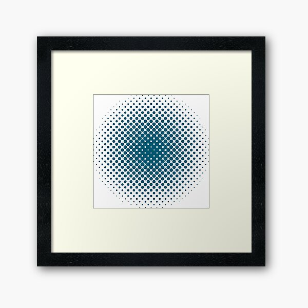 Radial Dot Gradient, Halftone Pattern Framed Art Print
