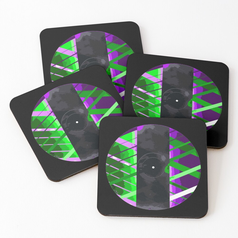 Purple & Green 90s Lines Coasters (Set of 4)