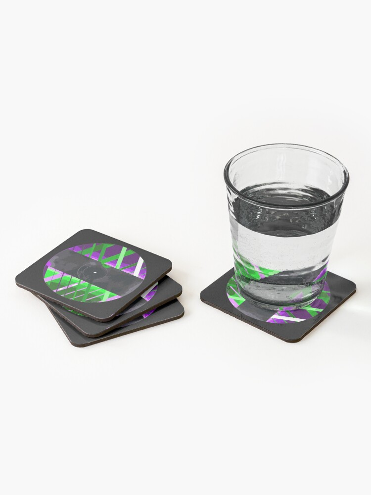 Alternate view of Purple & Green 90s Lines Coasters (Set of 4)