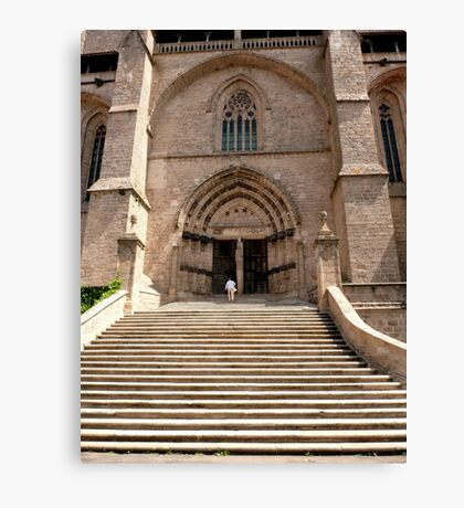 Stairs to the church - Chaise-Dieu (France) Canvas Print