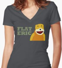 Flat Eric  Women's Fitted V-Neck T-Shirt