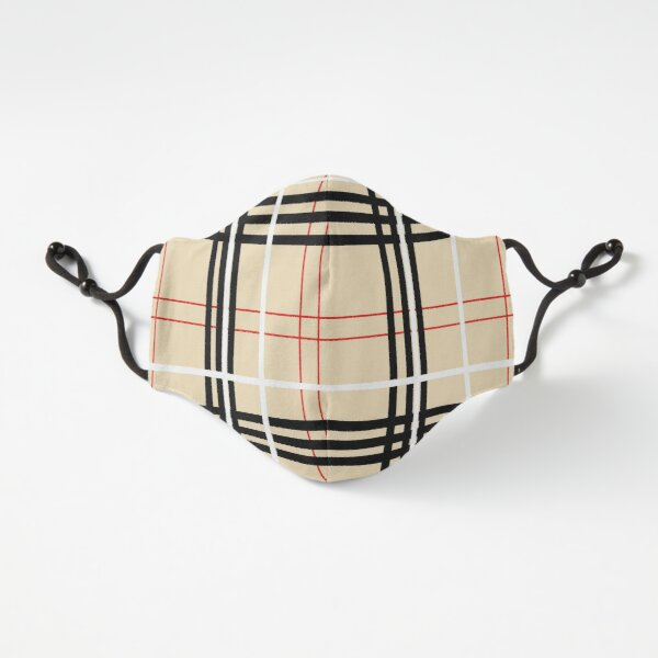 Red, Black, White, and Light Brown Plaid Pattern Fitted 3-Layer