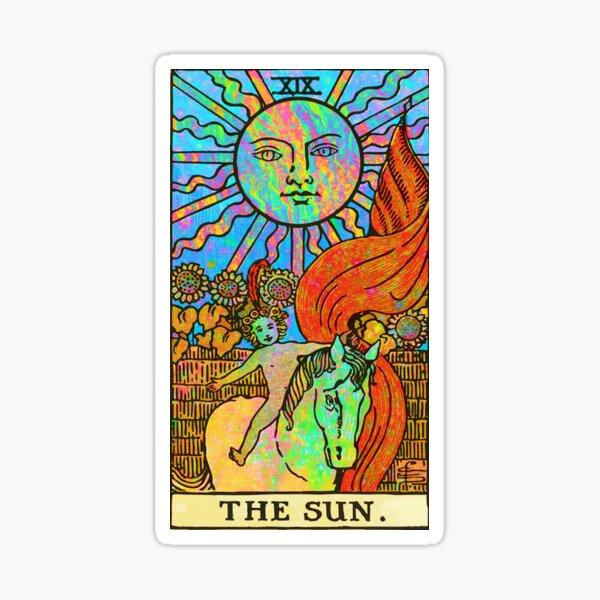 Tarot psicodélico: sol arcoiris (sin borde) Pegatina