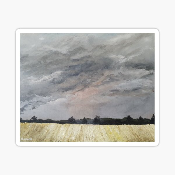 Stormy stubble wheatfield Sticker