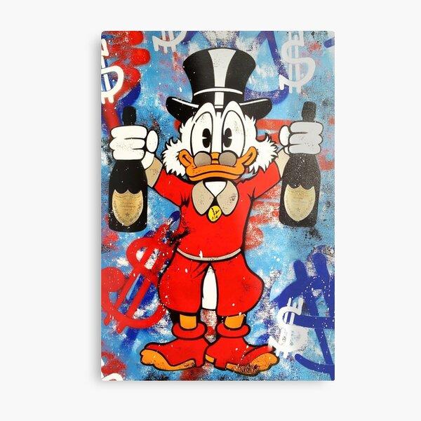 Scrooge McDuck hält Flaschen Wein Metallbild