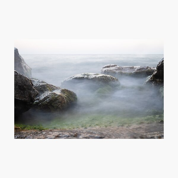 Boulders in Lake Ontario - Dreamy and Hazy Photographic Print