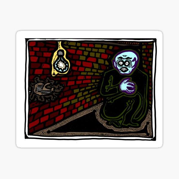 Nosferatu in einer Ecke gefärbt Sticker