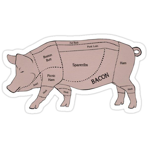 Quot Parts Of A Pig With Emphasis On Bacon Quot Stickers By