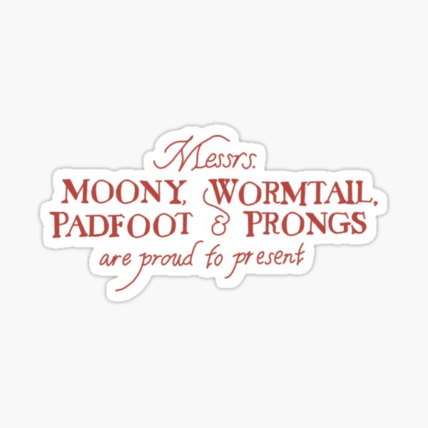 moony, wormtail, padfoot y prongs se enorgullecen de presentar ... Pegatina brillante