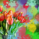 Colourful Painterly tulips on an abstract background. by walstraasart