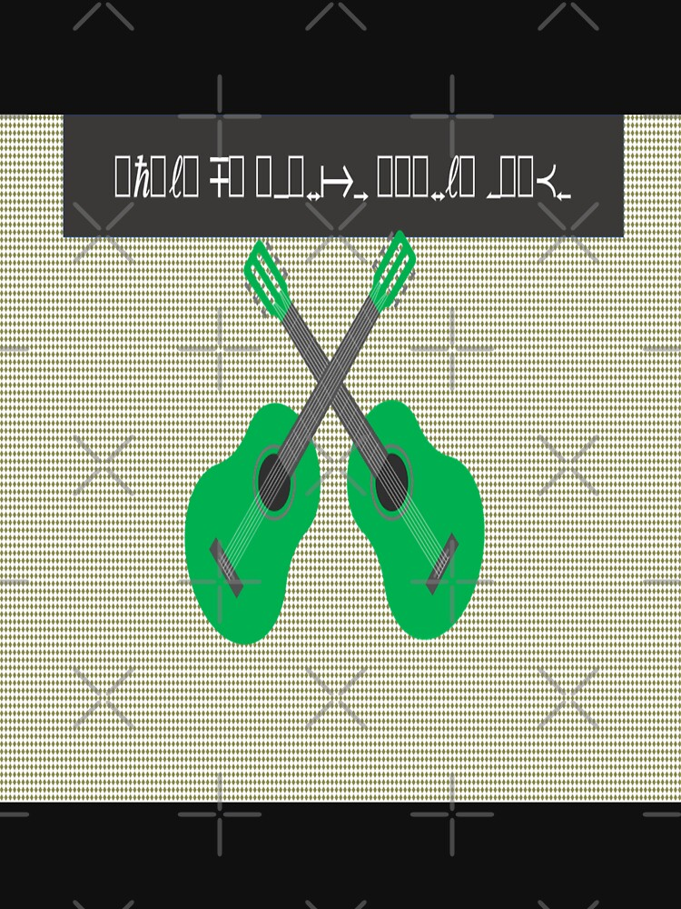 Decode design with  green guitar s and beige background by Veee8