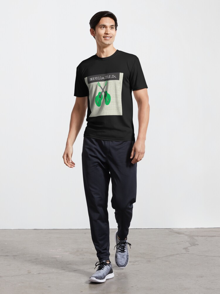 Alternate view of Decode design with  green guitar s and beige background Active T-Shirt