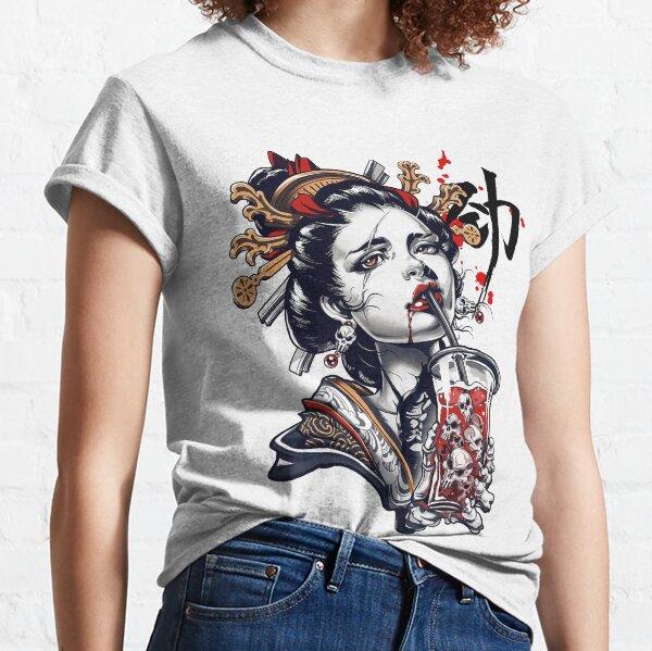 Japanese Geisha Girl Vaporwave Cyberpunk Popart Urban Style Classic T-Shirt