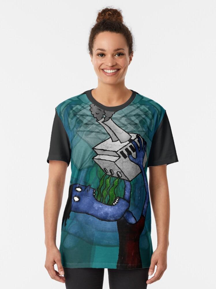 Alternate view of Man Drinking Factory Sludge Graphic T-Shirt