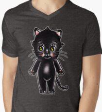 Black Cat Kewpie Men's V-Neck T-Shirt