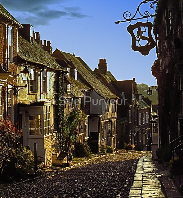 Evening sun on Mermaid Street, Rye by Sue Purveur