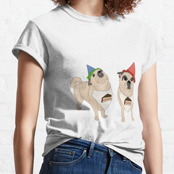 Cartoony Birthday Pugs Illustration Classic T-Shirt