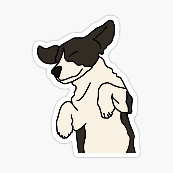 Black and White Frolicking Puppy on White Sticker
