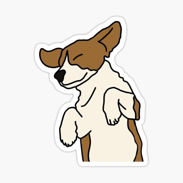 Brown and White Frolicking Puppy on White Sticker