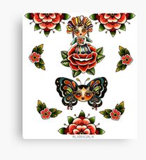 Mexican Dolls Flash, rose doll and butterfly only. Canvas Print