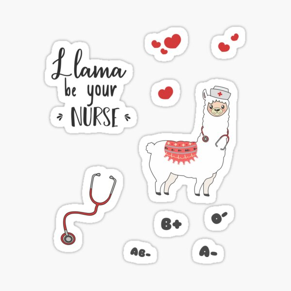 Llama Be Your Nurse - Sticker Pack Sticker