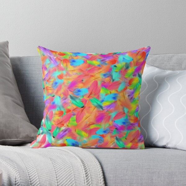 kleurrijke veren  Throw Pillow