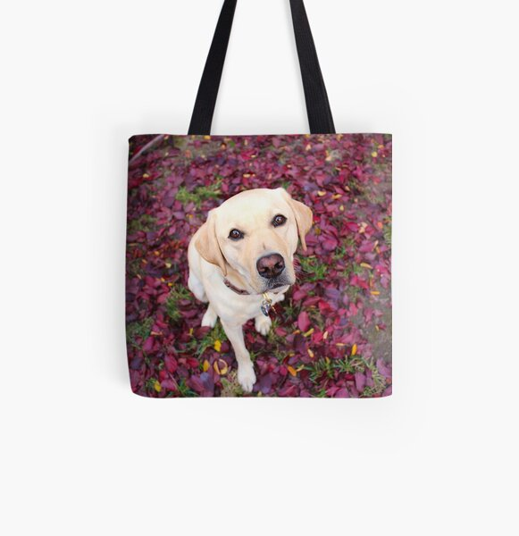 Lab in the Leaves All Over Print Tote Bag