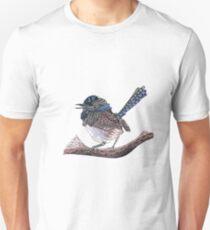 Blue Zen Wren Paisley Bird Slim Fit T-Shirt