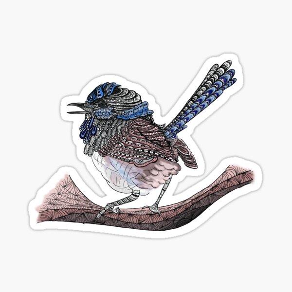 Blue Zen Wren Paisley Bird Sticker