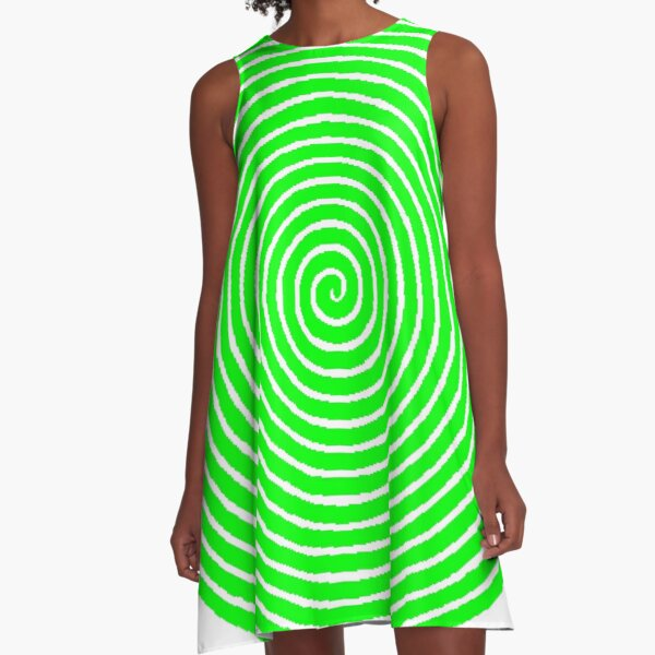 Green spiral A-Line Dress
