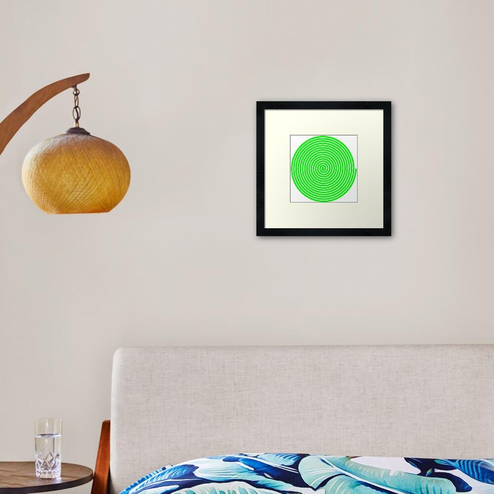 Green spiral Framed Art Print