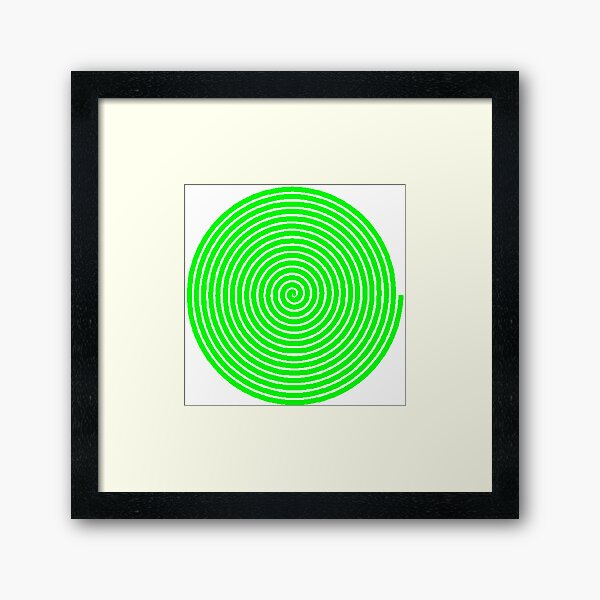 Green spiral Framed Art Print
