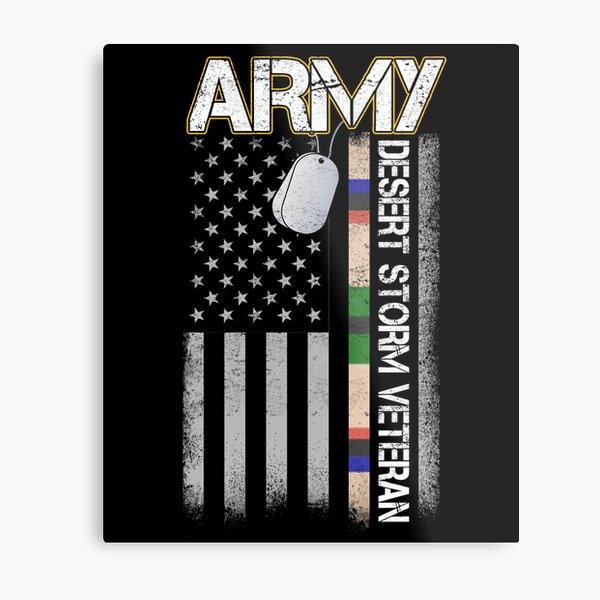 U.S. Army Desert Storm Veteran Distressed American Flag Gifts Metal Print