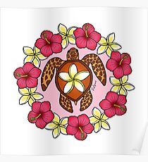 Plumeria Turtle Poster