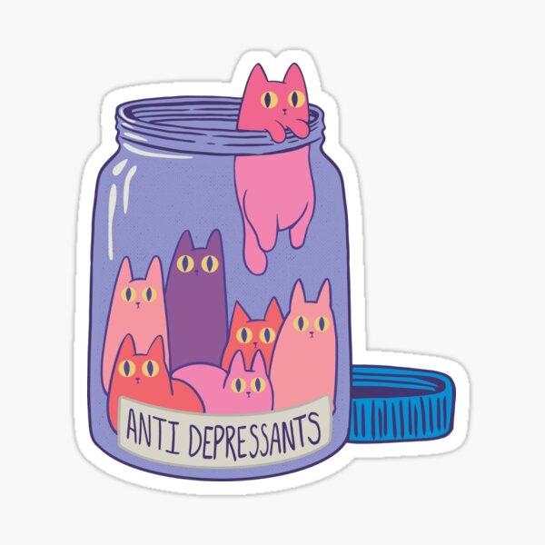 Best Selling - Cat and Antidepressant Sticker Sticker