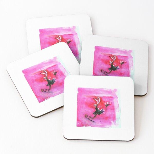 Joyful Pink Skating Rabbit Coasters (Set of 4)
