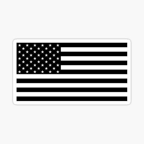 Black and White US Flag Sticker
